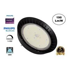 High Bay Led Ufo Xitanium 200w, 38000 Lumen, 6000K Daglicht Wit, IP65, Philips Driver en LumiLeds, 1-10v Dimming, 5 Jaar Garantie