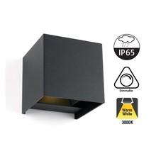 LED Wandlamp Cube 2x3 Watt, 2x 270 Lumen, 3000K Warm wit, Dimbaar, IP65, Grijs, 2 Jaar Garantie
