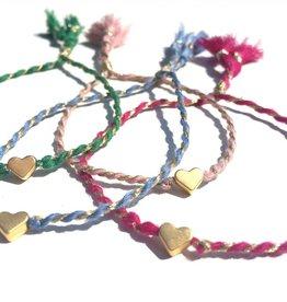 Jewels by SJ Armbandje met hartje  diverse kleuren