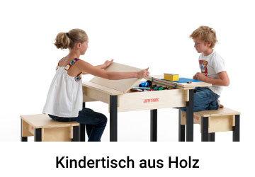 Kindertisch aus Holz mit Aufbewahrung