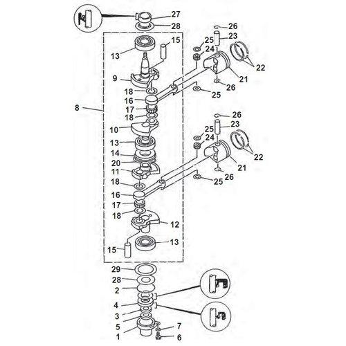Yamaha + Mariner 9,9 / 15 pk 2-Takt krukas onderdelen