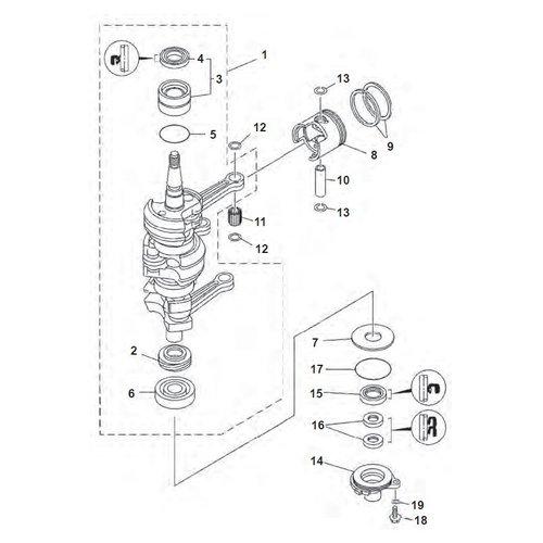 Yamaha 25 / 30 pk 2T 3cil 86+ krukas onderdelen