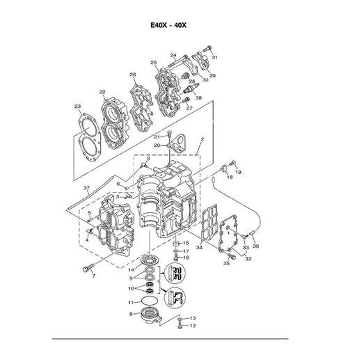Yamaha blok parts 40 pk 2T 2cil E40X/40XMH/E40XMH/XW/XWT