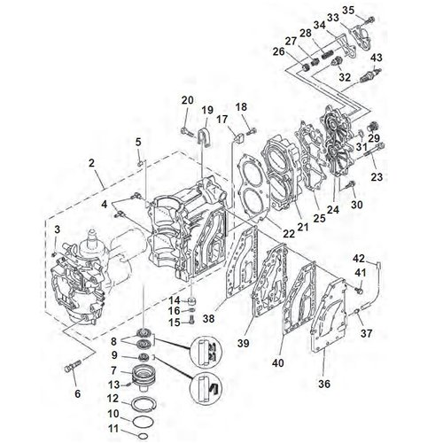 Yamaha / Mariner 40 pk 2-cilinder 2-takt blok onderdelen