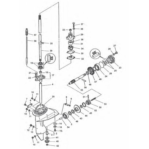 Yamaha 6 / 8 HP type B + E8D/E8DMH Gearcase Assy Parts