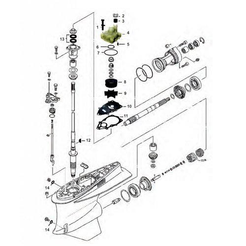 Yamaha VZ 200 / 225 / 250 / 300 HP Gearcase Assy Parts