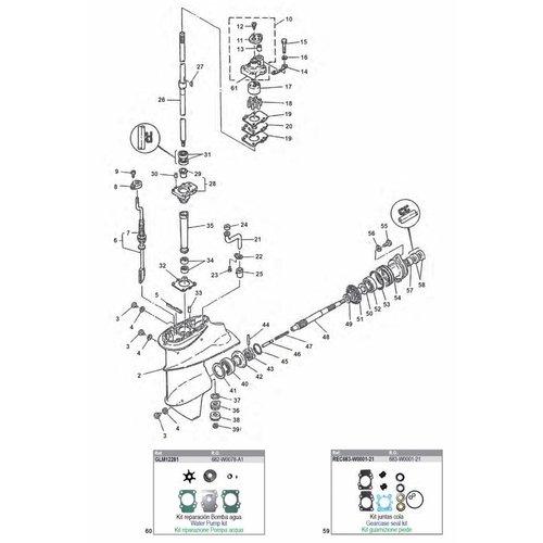 Yamaha 9.9/15 pk 2T type C/D + 9,9 pk 4T tot '00 Staartstuk onderdelen