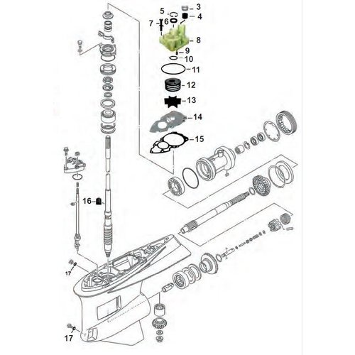 Yamaha F300 / F350 V8 4T Staartstuk onderdelen
