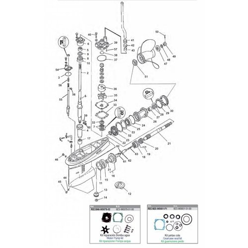 Yamaha V4 Cyl Gearcase Assy Parts