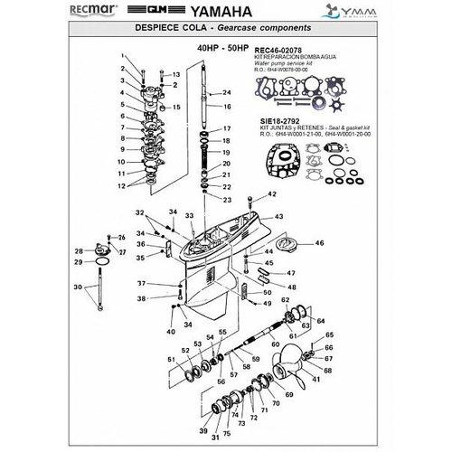 Yamaha 40 HP / 50 HP Gearcase Assy Parts