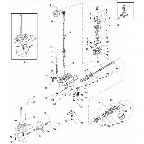 Yamaha F20 / F25 Staartstuk onderdelen