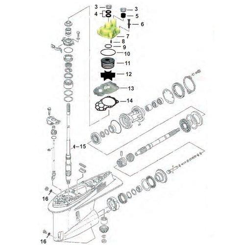 Yamaha F225 / F250 / F300 V6 4T Staartstuk onderdelen