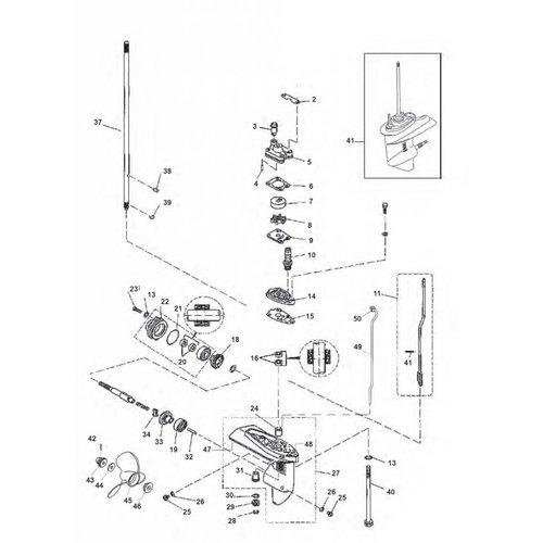 Yamaha F4 / F5 / F6 1cil Staartstuk Onderdelen