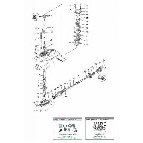 Yamaha E40GMH / 40GWH Gearcase Assy Parts