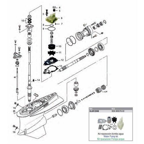 Yamaha FL / F 225 / 250 4-stroke Gearcase Assy Parts