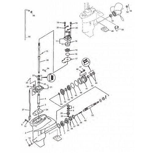 Yamaha F9,9 / F15 tot 07 Staartstuk onderdelen