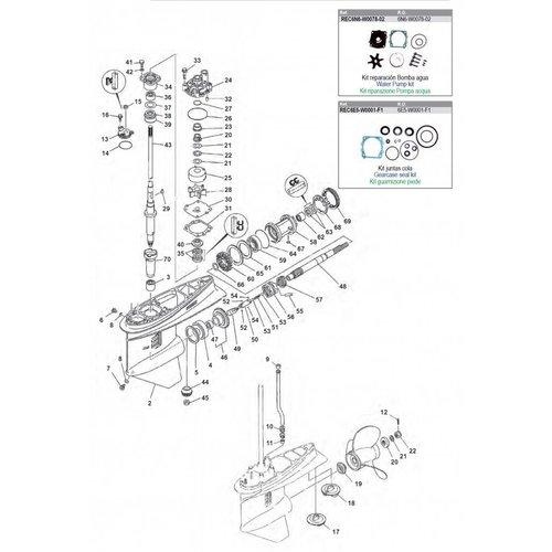 Yamaha 115 HP / 130 HP Gearcase Assy Parts