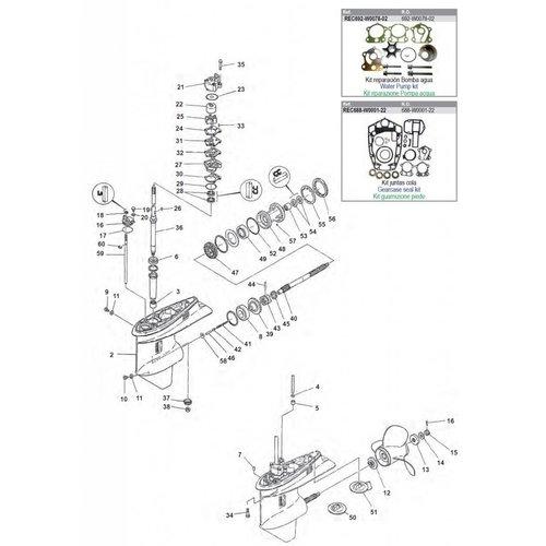 Yamaha 75A / 85A Gearcase Assy Parts