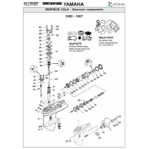 Yamaha 55 / 60 pk ED/ET Staartstuk Onderdelen