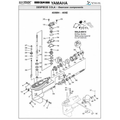 Yamaha 40XMH / 40XE Gearcase Assy Parts