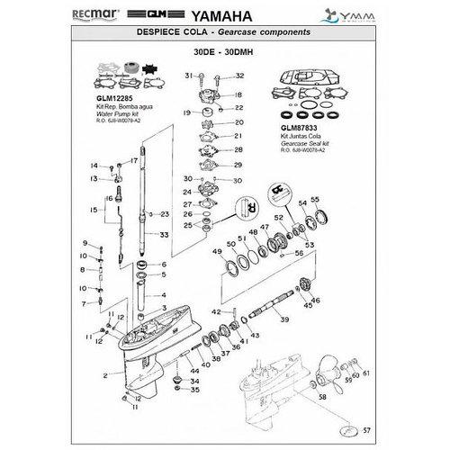 Yamaha 25 J/E + 30 D/E 2-stroke Gearcase Assy Parts
