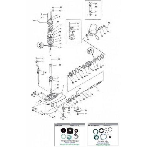 Yamaha  20C/CM - 25D/DE - C25HP - 30A/C30 Gearcase Assy Parts