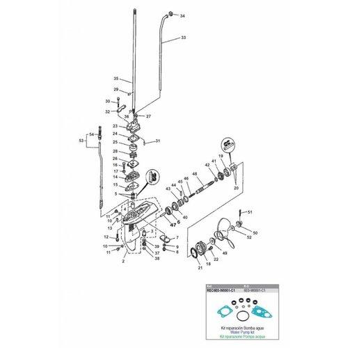 Yamaha 4 / 5 HP 2-stroke Gearcase Assy Parts