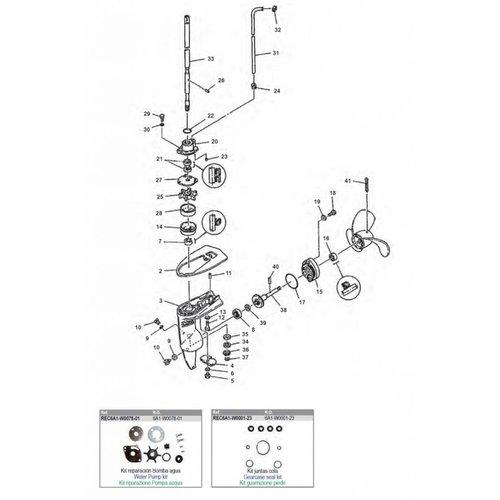 Yamaha 2 pk staartstuk onderdelen
