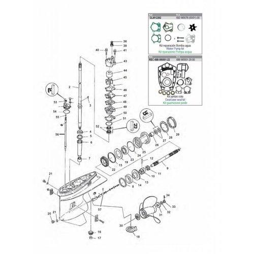 Yamaha 75 / 80 / 90 pk Staartstuk onderdelen