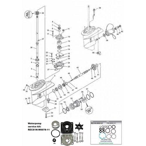 Yamaha 25/30 pk 2T Staartstuk Onderdelen