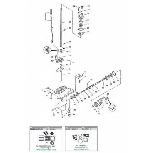 Yamaha 6 / 8 pk 2T type C / D Staartstuk onderdelen