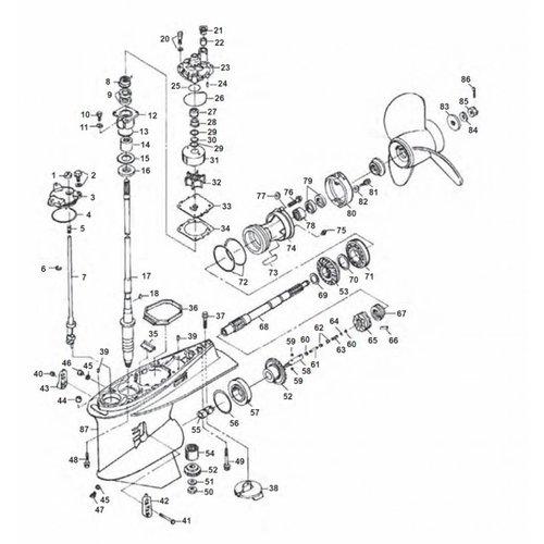 Yamaha  225/250 pk 2T Staartstuk onderdelen