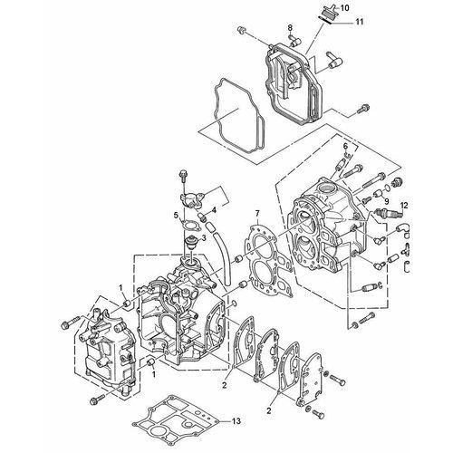 Mercury / Mariner / Yamaha 9,9 pk 4T (232 cc) Blok onderdelen