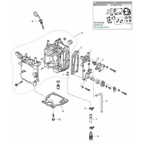 Mercury / Tohatsu / Parsun 8 / 9.8 / 9.9 HP 4-stroke (209cc) Block Parts