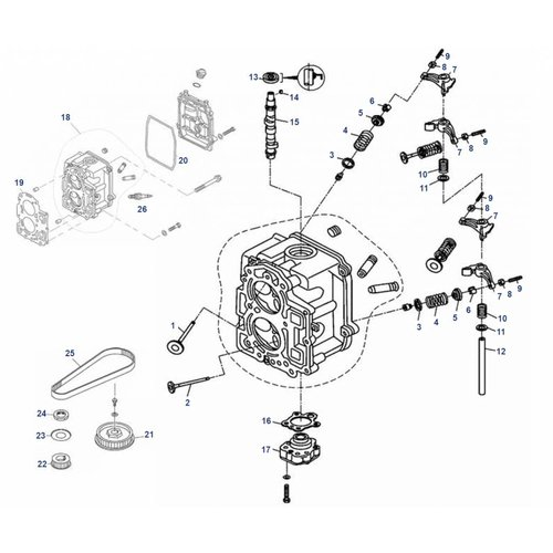 Mercury / Tohatsu / Parsun 8/9,8/9.9 pk 4T (209cc) cilinder kop onderdelen