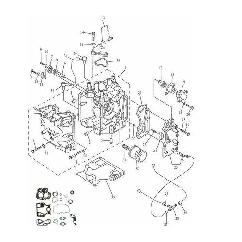 Mercury / Mariner / Yamaha / Parsun / Tohatsu 8 tot 15 pk 4T 98-07 (323cc) blok onderdelen