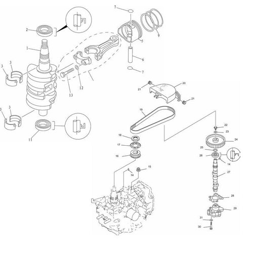Mercury / Mariner / Yamaha / Parsun / Tohatsu 8 to 15 HP 4-stroke '98-'07 (323cc) Crankshaft Parts
