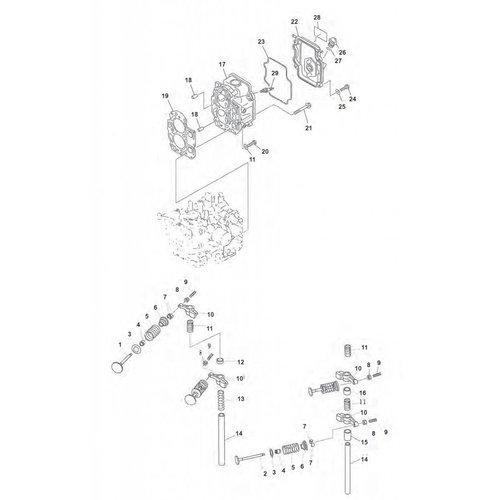 Mercury / Mariner / Yamaha / Parsun / Tohatsu 8 to 15 HP 4-stroke '98-'07 (323cc) Cylinder Head Parts