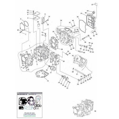 Mercury / Mariner / Yamaha / Parsun F20 / F25 blok onderdelen