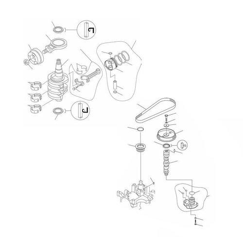 Mercury / Mariner / Yamaha / Parsun F20 / F25 krukas onderdelen