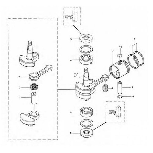 Mercury / Tohatsu 4 / 5 pk 2-takt krukas onderdelen