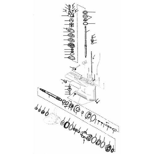 Mercury / Mariner 65 to 225 HP 2-stroke (2.0L / 2.4L / 2.5L V6 / L4 / L6) Gearcase Assy Parts