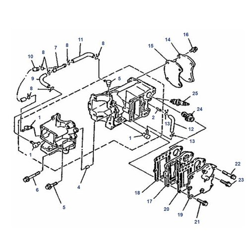Mariner 4 pk / 5 pk 2T (Yamaha model) blok onderdelen