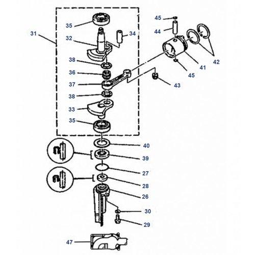 Mariner 4 HP / 5 HP 2-stroke (Yamaha Model) Crankshaft Parts