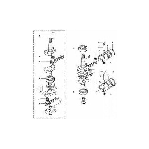 Tohatsu / Mercury 9.9 / 15 / 18 HP Crankshaft Parts