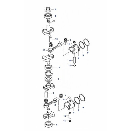 Mercury / Mariner / Tohatsu 6 / 8 / 9.8 HP 2-stroke Crankshaft Parts