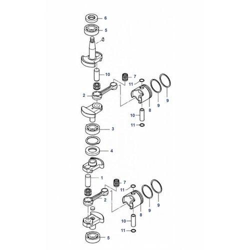 Mercury / Mariner / Tohatsu 6 / 8 / 9.8 pk 2-takt krukas onderdelen