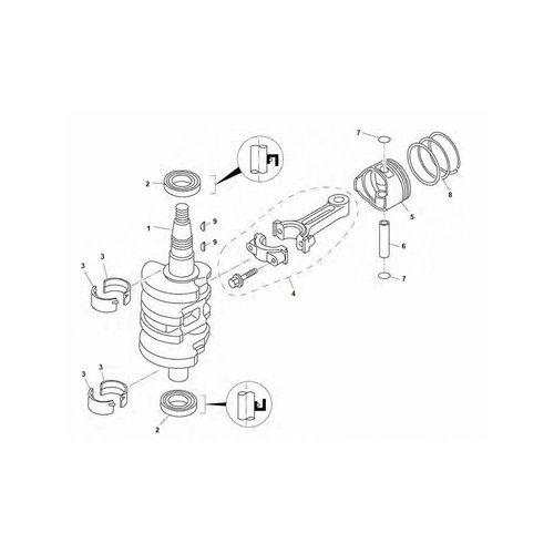 Tohatsu / Mercury 8 / 9.8 / 9.9 pk 4T (209cc) krukas en zuiger onderdelen