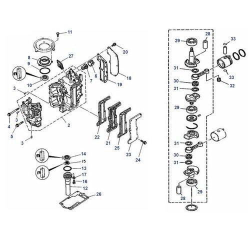 Mariner 6C / D, 8C (Yamaha Model) Crankshaft + Block Parts
