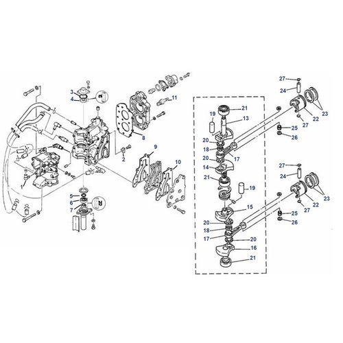 Mariner 8 pk (Yamaha model type B) Krukas+blok onderdelen